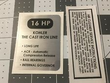 Kohler Engine 16-hp K321 decal Cub Cadet Wheel Horse black and silver Set 2