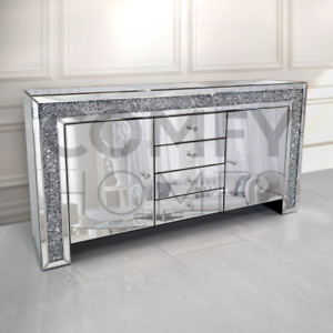 MIRRORED CRUSHED CRYSTAL SIDEBOARD - 150cm - FREE DELIVERY AVAILABLE!