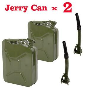 2X Jerry Fuel Can 20 Litre Petrol Diesel Gas Oil Metal Tank Army Green + 2 Spout