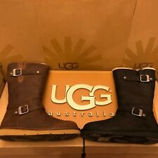New Womens UGG Kensington Sheepskin Motorcycle Buckle Boot Winter Brown or Black