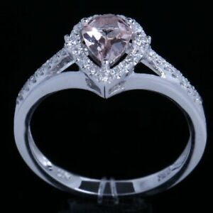 Fine Jewelry 5X7mm Morganite Pear Diamonds Solid 18K White Gold Engagement Ring