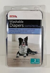 Petco Washable Dog Diapers Large 2 Pack Denim Blue 35-55 lbs (BRAND NEW)