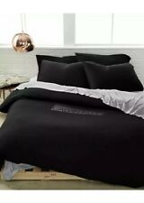 Calvin Klein Modern Harrison Cotton Queen Fitted,Flat Sheet+Pillowcases.Black