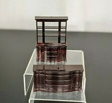 VTG Small Brown Plastic Marx Furniture Hutch & TV Stand Dollhouse Furniture Toy