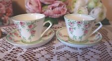 GLADSTONE CHINA Dainty Cups & Saucers x 4  Pink Roses & Green Leaves TEA SET