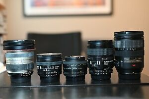 Lot of 5 Nikon Lens 20mm 50mm 60mm 19-35mm 24-120mm AND lens filters SHIPS FREE