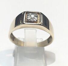 10k Solid Yellow Gold Diamond Men's Ring. Size 10.