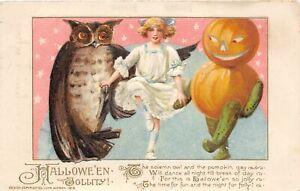 H12/ Halloween Postcard 450/1 3847 John Winsch 1913 Owl Girl Dance 1