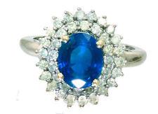 2.60 Ctw Diamante e Zaffiro Set in 18K Anello Oro Bianco