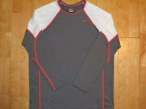 NEW NIKE Mens DRI-FIT Gray with White & Orange Long Sleeve XL Shirt Extra Large