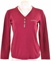 CHAMPION Womens Top Long Sleeve Size 14 Large Burgundy Cotton  DN20