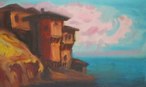 Vintage expressionist oil painting seascape cityscape seaside landscape signed
