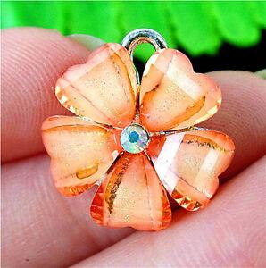 20x18x4mm Orange Lampwork Glass Alloy Insert Flower Pendant Bead BT84523