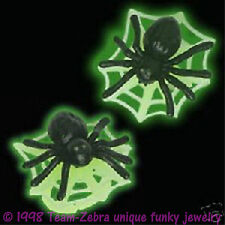Funky Gothic GLOW SPIDER with WEB EARRINGS Fun Wicked Witch Punk Costume Jewelry