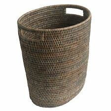 Grey Fine Oval Wicker Rattan Waste Paper Basket Bin with Metal Liner