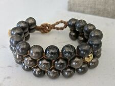 Chan Luu Black Stone Beaded Bracelet With Gold Accent Bead