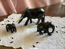 Vintage Hand Carved Wooden Elephants Ebony Black Old Pre 1950s X 3