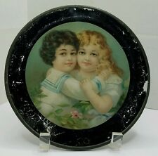 Antique Glass Flue Cover Beautiful Victorian Children Reverse Paint with Litho