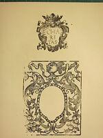 Antico Xilografia Stampa ~ Ornamentale Crest Telaio ~ Cavaliere Casco