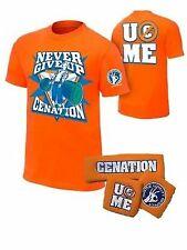 John Cena Boys Orange Cenation Kids WWE Costume T-shirt Wristbands