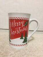Royal Norfolk Merry Christmas Holiday Coffee Mug 12oz Cup Red White Green Trees