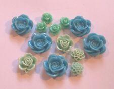 30 Cabochon Acrilico/Flatback fiori-per Hairclips/Anelli/SPILLE, SPILLETTE etc-Mix Blu