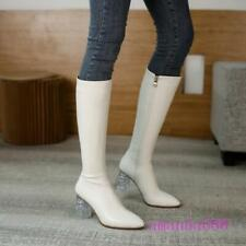 Women's Clear High Heels Knight Boots Autumn Winter Knee High Riding Boots Shoes