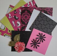 6x6 Paper Kit Bundle Glittered glazed Card making Junk Journalling - Hot Pink
