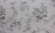 Lovely Romantic Basket & Floral French Antique 19thC Home Decor Cotton Fabric