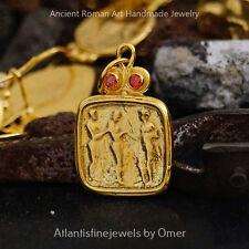 Orange Topaz Coin Pendant Handmade By Omer 24k Gold Over 925 Sterling Silver