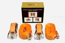2x Trinquete Correa Anclaje 5t 5m x50mm hierro Mango Doble J Gancho 5000kg