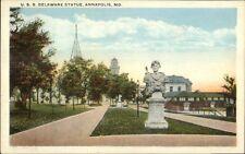 Annapolis MD USS Delaware Statue c1920 Postcard