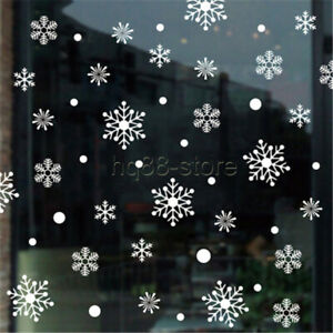 80pcs Reusable Christmas Window Snowflakes Stickers Clings Decal Decorations UK