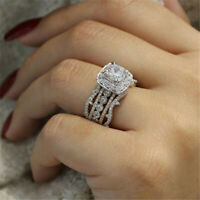 Silver Crystal Rose Gold Plated Diamond Ring Women Wedding Rings Band Fashion