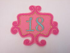 10 x Embroidered 18th Birthday Pink and Blue Scrapbook Card Making Motif #10B115