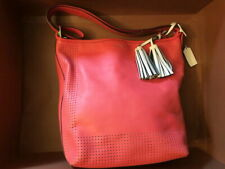 COACH 22762 Perforated Leather Duffel Watermelon/Snow Handbag