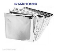 "50 PACK • Emergency Solar Blanket Survival Safety Insulating Mylar 84"" x 52"""