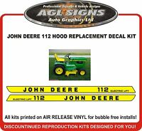 JOHN DEERE 112 Electric Lift Tractor Hood replacement Decal Kit  , reproductions