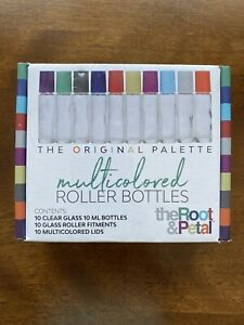 The Root and Petal Set of 10 Multicolored Glass Roller Bottles with Glass Balls