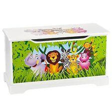 Coffre à jouets en bois animaux de la jungle 102/244161B