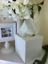 Classic Plain White Ceramic Tissue Box Cover Home Decor/Bathroom Storage