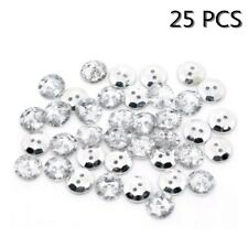 25pcs 13mm Clear Faceted Round Bling Buttons (Crystal Look) Silver Plated Back