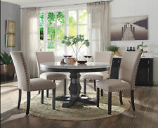 GISELA 5 pieces Modern Dining Room Set - Round White Marble Table & Beige Chairs