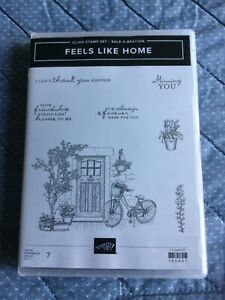 Stampin' Up! FEELS LIKE HOME Rubber Cling Stamp Set Bike Sentiments used 1x EUC!