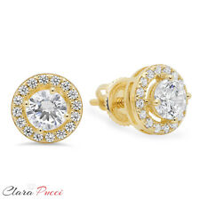1.6ct Round Cut Stud Halo Solitaire Earrings Solid 14k Yellow Gold Screw Back