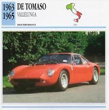 1963-1965 DE TOMASO Vallelunga Classic Car Photo/Info Maxi Card