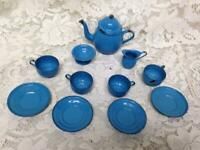 Antique, 12-pc  French Blue Enamelware Child's Tea Set