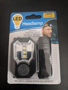 Head-Mounted Flashlight w Adjustable Flexible Strap - Steady & Flashing modes