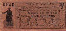 REPRO Texas Five Dollar Treasury Warrant Oct 1, 1862 - COPY RIPRODUZIONE (4-85)