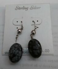 Oval Snowflake Obsidian Black and Grey Sterling Silver Drop Earrings- New